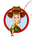 cartoon Fisherman and fish vector image vector image