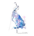 Fashion girls or abstract woman in a blue dress vector image