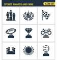 Icons set premium quality of awards and fame vector image