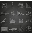 mathematics outline icons set on blackboard eps10 vector image