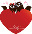 Valentines Day Card with black cats vector image