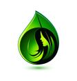 Beauty girl green leaf logo vector image