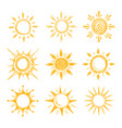 funny doodle summer smile orange sun icons vector image