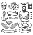 vintage sketch tattoo studio elements set vector image