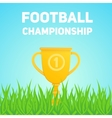 Golden trophy cup on field grass vector image