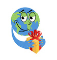 Earth Day Earth and gift Holiday yellow box with vector image