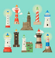 lighthouse beacon lighter beaming path of vector image