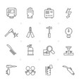 line welding and construction tools icons vector image