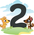 Collection number for kids farm animals - number 2 vector image vector image
