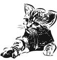 Silhouette Kitten vector image vector image