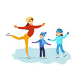 boy and girl ride on ice mom shows master class vector image