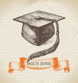 Hand drawn back to school vintage background vector image