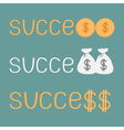 Word success and money bags coins and dollar sign vector image vector image