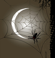 Halloween vertical banner full moon and cobweb vector image