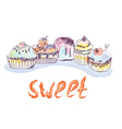 Cakes and cupcakes sketch - hand drawn vector image