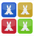 set of four square icons with back Easter bunny vector image