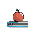 apple fruit over close book vector image