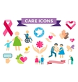 Charity care flat icons set vector image