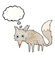 funny cartoon wolf with thought bubble vector image