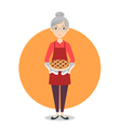 Grandma with sweet pie in her hands vector image