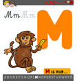 letter m with cartoon monkey vector image