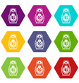 Matryoshka icon set color hexahedron vector image