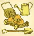 Sketch gardening set in vintage style vector image