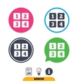 Cellphone keyboard sign icon Digits symbol vector image