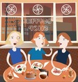 Three friends in the coffee shop vector image