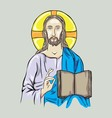 Christ with Bible vector image