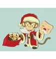 Christmas Monkey Santa with bag of gifts Monkey vector image