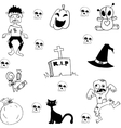 Halloween zombie scary in doodle vector image