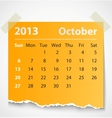 2013 calendar october colorful torn paper vector image vector image