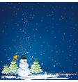 christmas card with forest of pinesnowman vector image