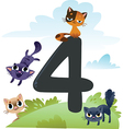 Collection number for kids farm animals - number 4 vector image