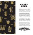 craft beer poster with banner design vector image