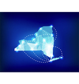 New York state map polygonal with spot lights vector image