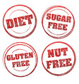 set of four red grunge rubber stamps with vector image