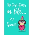 Cute colored doodle owl with cake on the head vector image