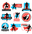 Set Of Superhero Emblems And Stickers vector image