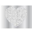 Grey silver sparkling polygonal heart design vector image