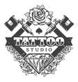 vintage tattoo salon logotype template vector image
