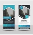 blue black business roll up banner flat design vector image