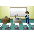 A man inside the conference room vector image