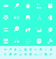 Fitness sport color icons on green background vector image