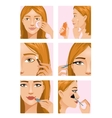 Young girl during makeup ritual vector image