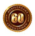 60 years anniversary golden brown label vector image