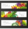 Three horizontal banners with fresh fruits and vector image vector image