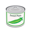 Canned food peas vector image
