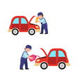 auto mechanic fixing and oiling a car vector image